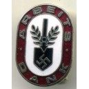 German WW II Red ARBEITS DANK pin