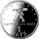 The 1-lats coin featuring a fairytale character Spriditis
