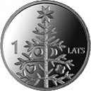 The 1-lats coin featuring Christmas tree