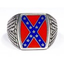 Confederate Flag Silver Ring , Rebel Ring